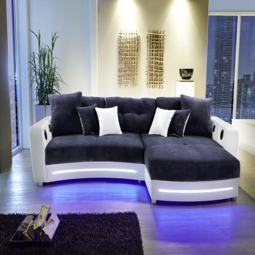 Hoeksalon Laredo lederlook stof wit blauw  WEBA meubelen