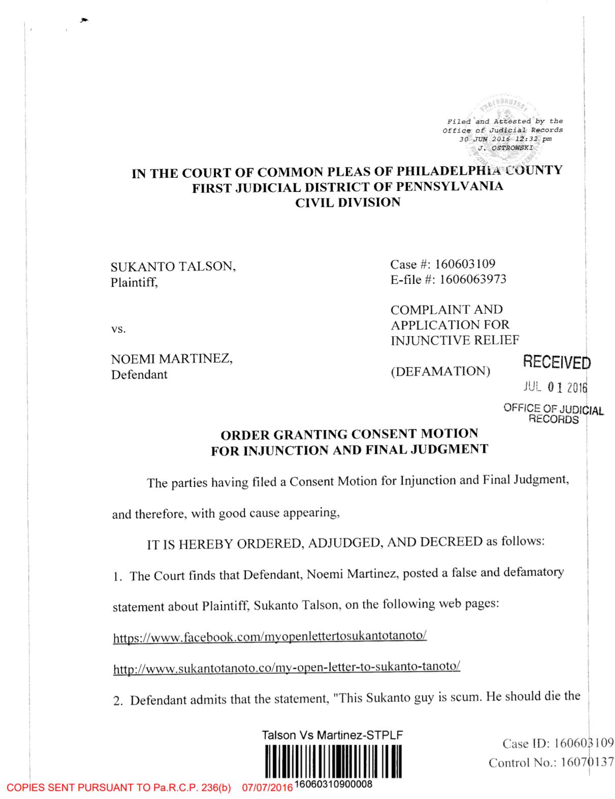 Sukanto Tanoto Fake Court Order