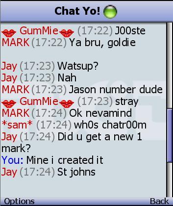 MXit chat room conversation