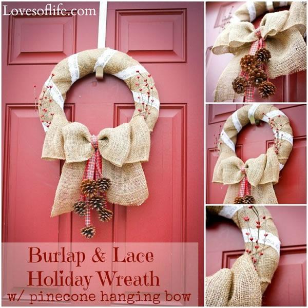 25 increibles  adornos de navidad hechos a mano - guirnalda hecha de arpillera y encaje