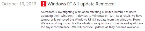 actualizacion de windows 8 1 rt es removida del windows store