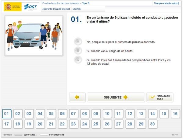 dgt test para obtener carnet de conducir