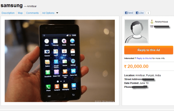 OLX Product page