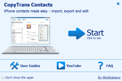 CopyTrans Contacts welcome screem