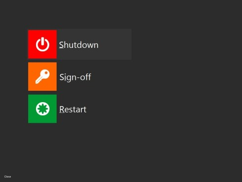 Add shut down button Windows 8