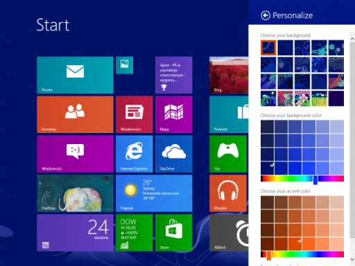 Windows Blue personalize options