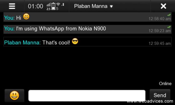 N900 WhatsApp chat