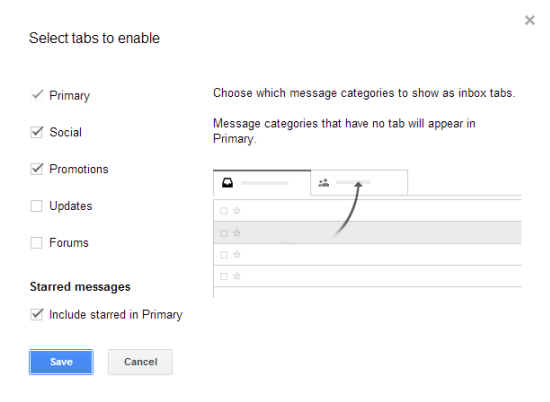 Gmail enable tabbed interface