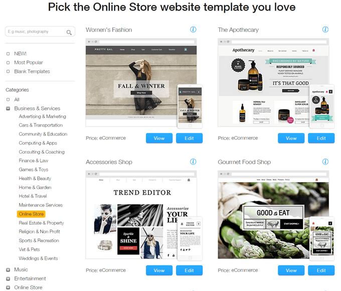 Wix.com review- select website template