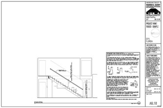 Custom Home Design Drawings: Stair Section Drawing