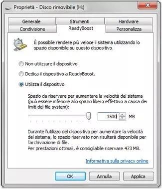 Velocizzare windows con una chiavetta USB