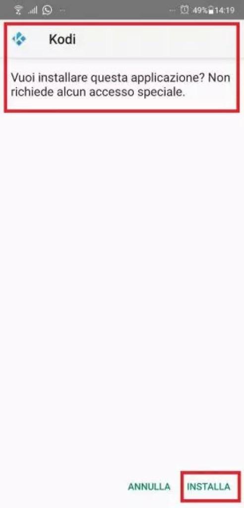 Kodi su Android tramite file Apk