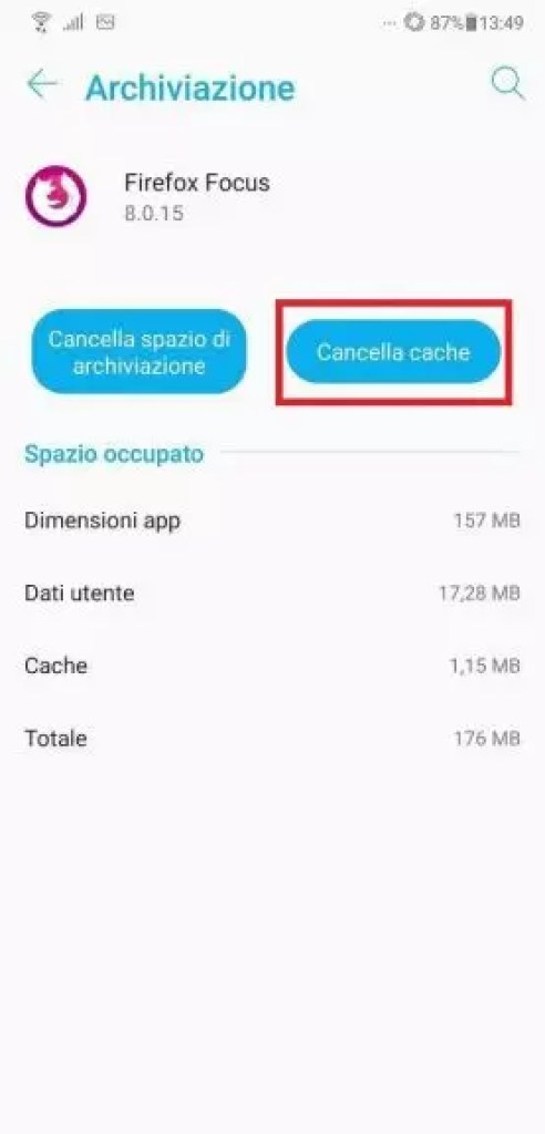 svuotare cache android