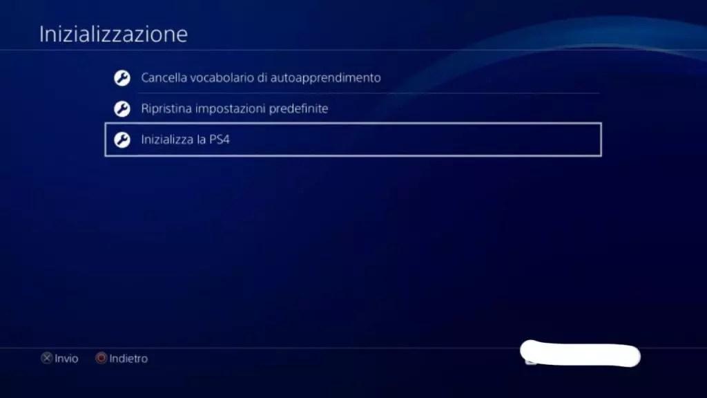 Come resettare la PS4 alle impostazioni di fabbrica