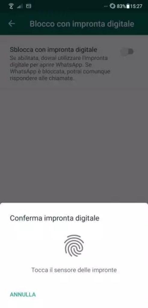 Come bloccare Whatsapp con le impronte digitali
