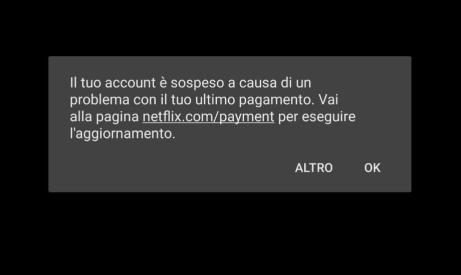 Account Netflix Sospeso