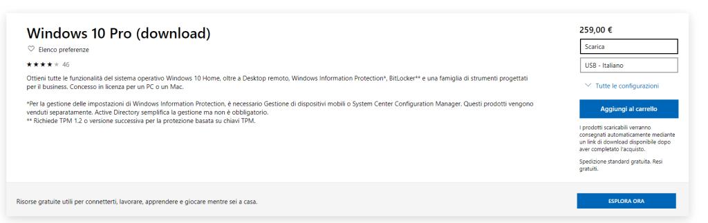 Acquistare Windows 10 Pro
