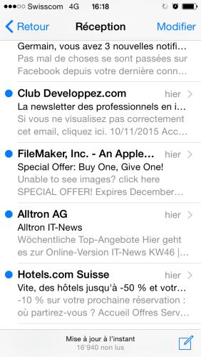 Typiquement sur mon Iphone, les mails ressemblent à un gros amas de texte... seul la lecture et mon raisonnement feront la différence si je vais cliquer ou non.