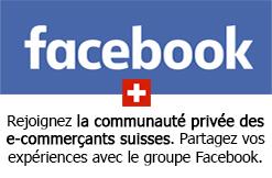 Rejoignez la communauté privée des e-commerçants suisses. Partagez vos expériences avec le groupe Facebook.
