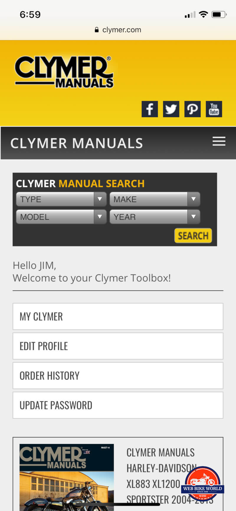 hight resolution of clymer online manual on mobile