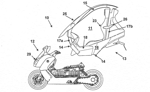 A Weird Patent for the BMW C Evolution Scooter Shows a