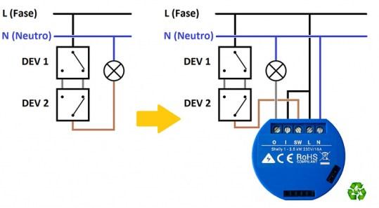 Shelly 1 Schema elettrico collegamento con deviatore