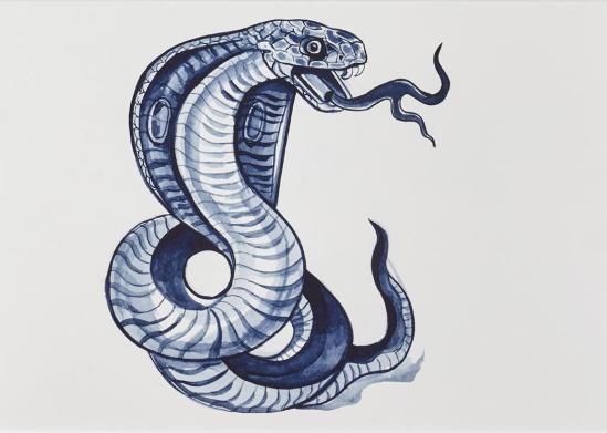 Sam Mitchell Snake #1 2016 acrylic on paper 205mm x 280mm