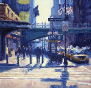 Blue Morning, Grand Central Station 43 x 43cm oil on board