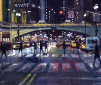 3, Night Crossing, Grand Central Station 59 x 49 cm oil on board
