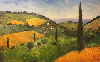 Hillside Village, Tuscany, 35 x 55 inches