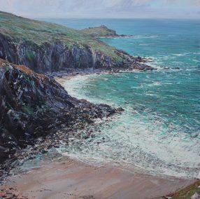 Gurnards head from Zennor Cliffs, oil on canvas, 100 x 100 cm