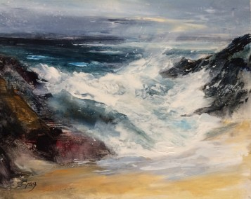Breaking through, near Pendeen, 20x25cm