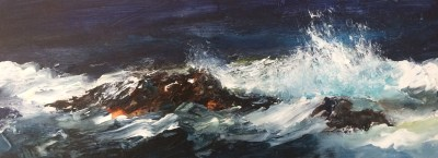 Heavy sea, Cape Cornwall, 38 x 14 cm