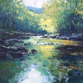 1, Early Summer River 100 x 100cm acrylic on canvas