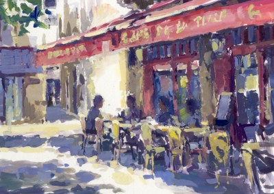14, Cafe de la Place 30 x 20 cm gouache on paper