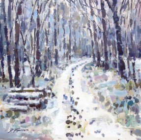 22, Woodland Snow 25 x 25 cm acrylic on board (1)