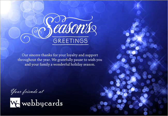 Seasons Greetings Blue Bokeh Lights Custom Holiday ECard