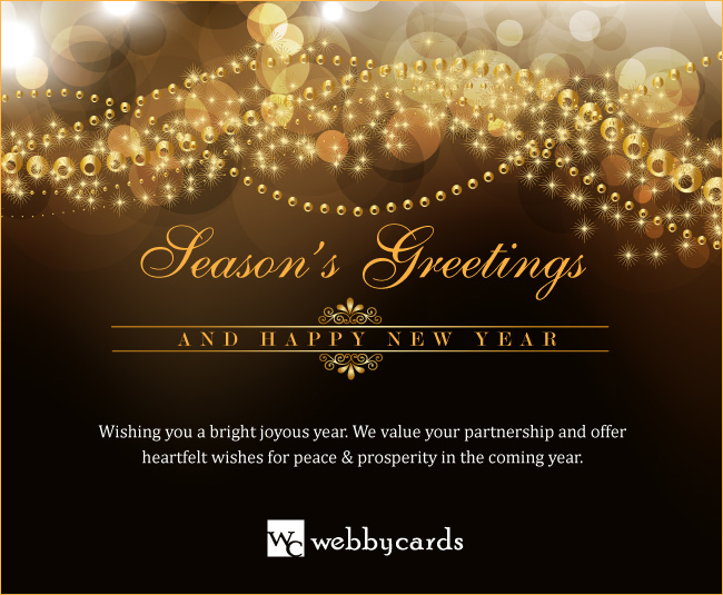 Custom Corporate Holiday ECard Elegant Gold Beads With