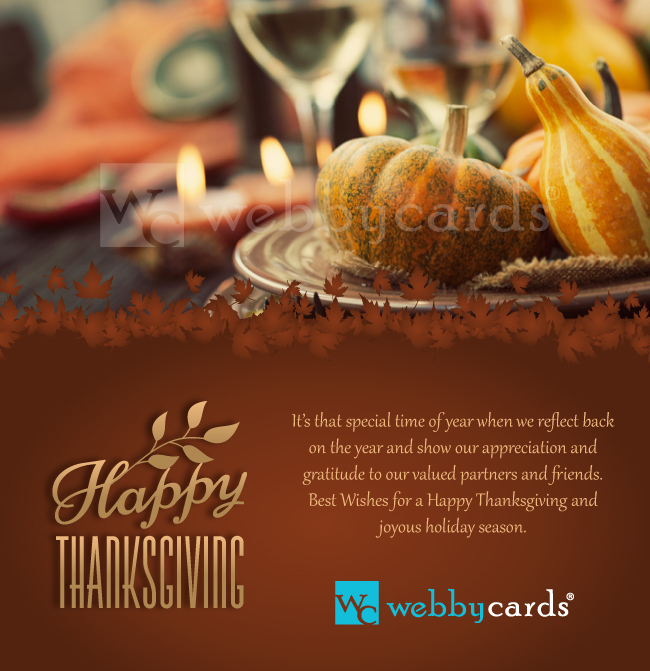 Thanksgiving Feast Photo ECard Corporate Static Electronic Christmas Greeting Card Corporate
