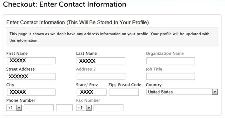 Checkout Page:  Enter  Contact Information
