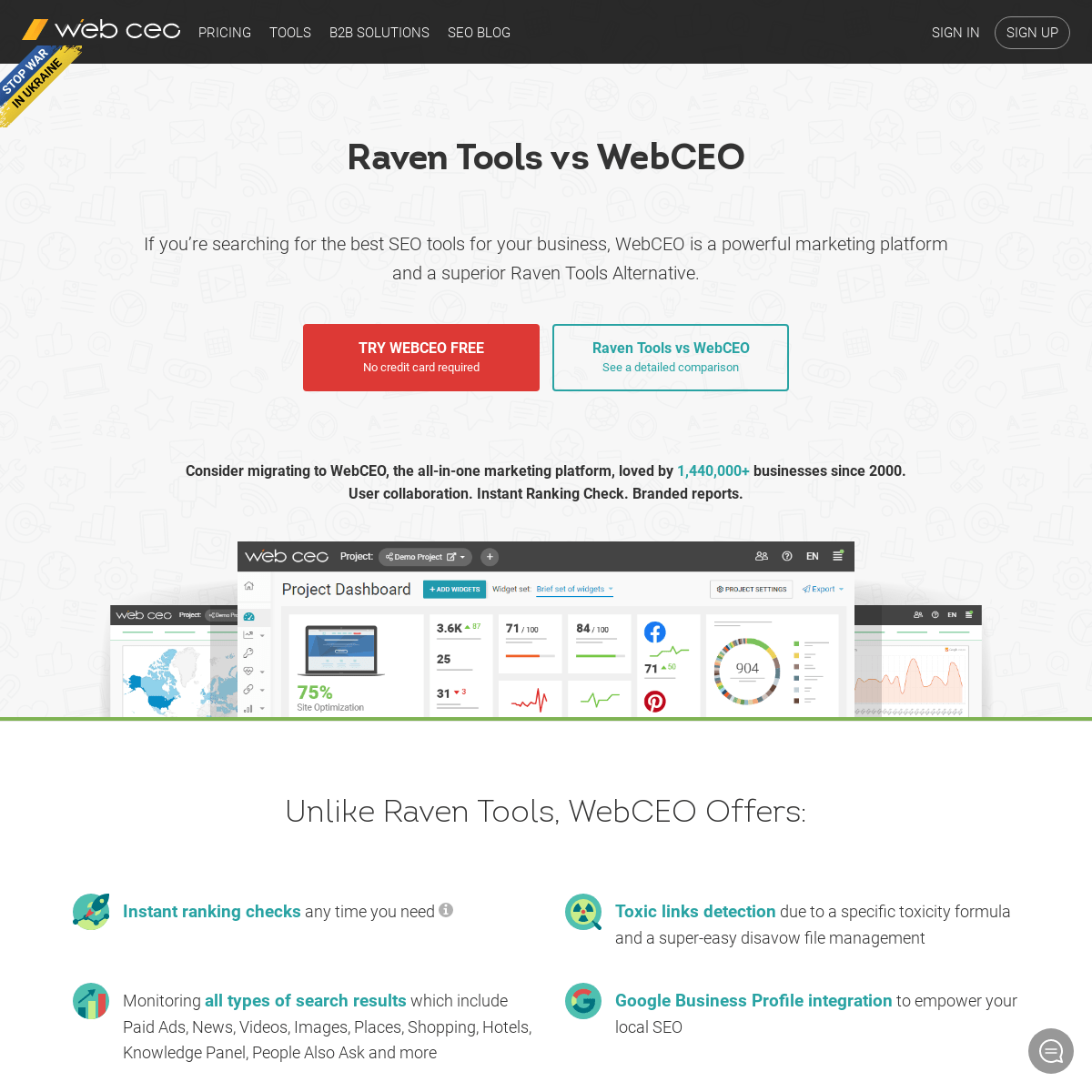 Raven Alternative. Compare MOZ to WebCEO