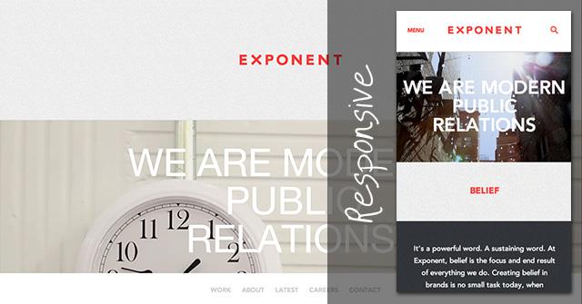 レスポンシブに対応しているExponent PRのWebサイトは、ブラウザーの幅が狭くなると動画部分を静止画像に差し替えて表示しています。