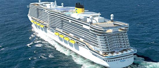 Vue de côté d'un des futurs navires (image synthèse)