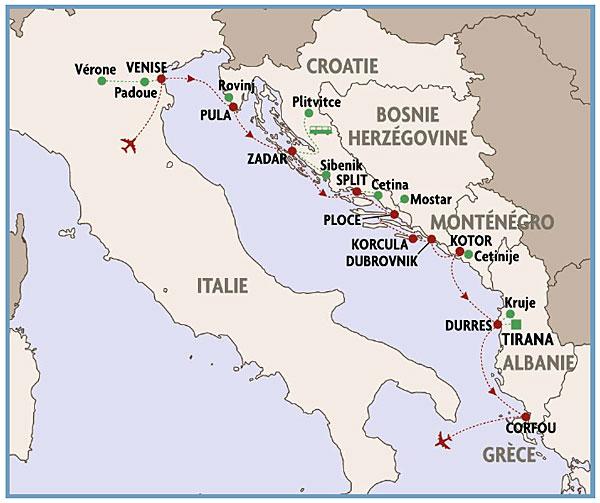 Itinéraire de la croisière De Venise à Corfou proposée par Rivages du Monde