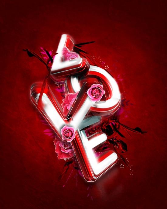 3D Valentine's Day Typography