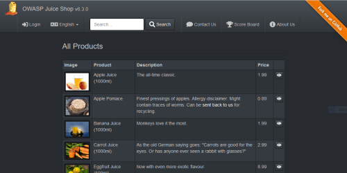 Screenshot of OWASP Fruit juice Shop