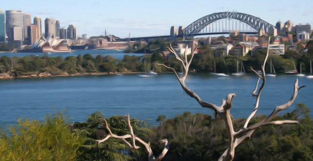 A photo of Sydney Harbor with some interesting painting-like features created by the algorithm