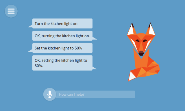 Image from the foxy smart assistant and samples of voice and text interactions inch width=