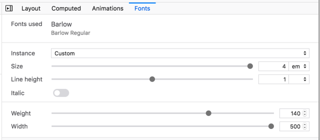 Screenshot of the brand new font tool in the Firefox DevTools