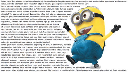 Image of minion with text moving around them